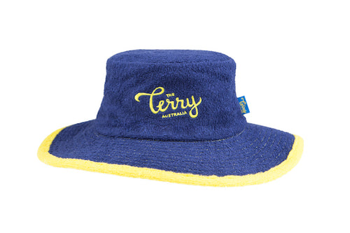 Kids Coogee Wide Brim Terry Bucket Hat- Navy/Yellow