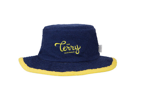 Kids Josh Narrow Brim Terry Bucket Hat-Navy/Yellow