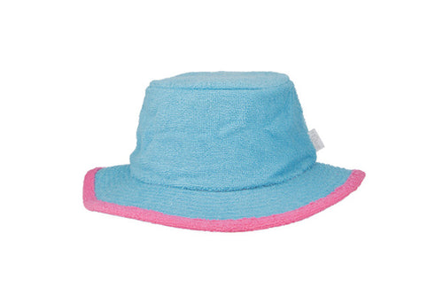 The Plain Narrow Brim Terry Bucket Hat- Aqua/Pink