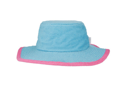 Kids Plain Terry Towelling Bucket Hat -Aqua/Pink