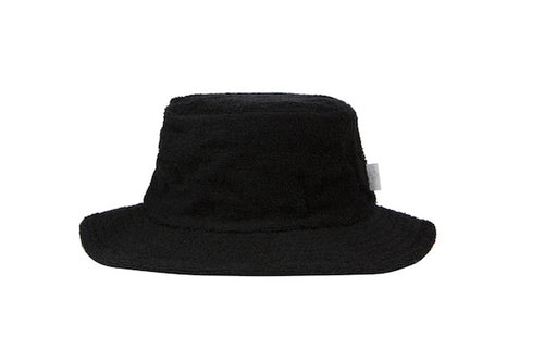 Terry Towelling Bucket Hat-Narrow Brim Black