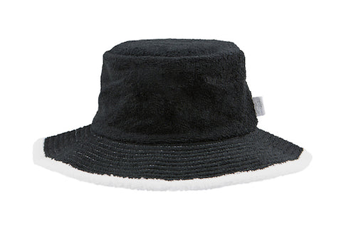 Kids Plain Terry Towelling Bucket Hat -Black/White
