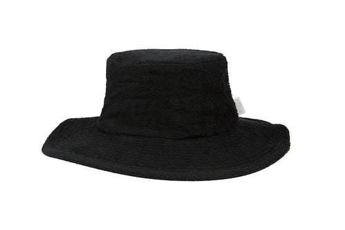 Terry Towelling Bucket Hat-Wide Brim Black