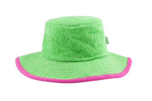 The Plain Terry Towelling Bucket Hat -Green/Hot Pink