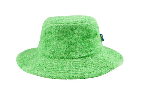 Terry Towelling Bucket Hat-Wide Brim Green