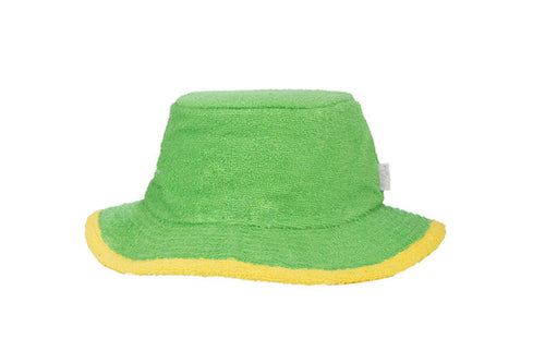 The Plain Narrow Brim Terry Bucket Hat- Green/Yellow