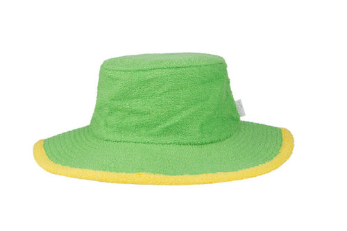 Kids Plain Terry Towelling Bucket Hat -Green/Yellow