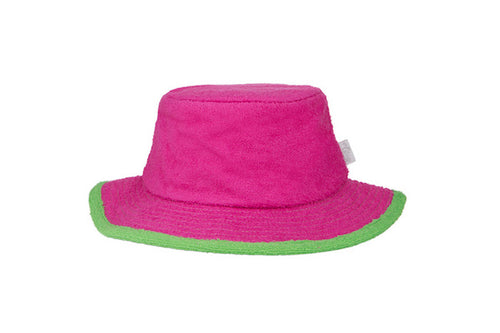 Kids Plain Narrow Brim Hat-Hot Pink/Green