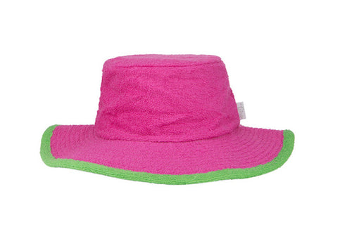 Kids Plain Terry Towelling Bucket Hat - HotPink/Green