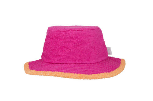 The Plain Narrow Brim Terry Bucket Hat- HotPink/Orange