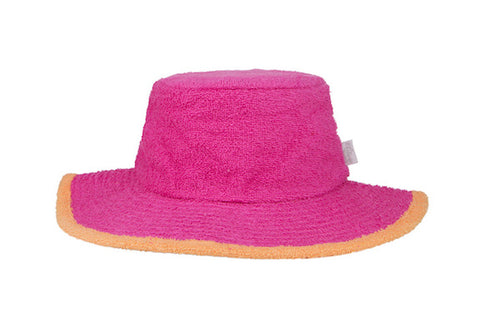 Kids Plain Terry Towelling Bucket Hat -HotPink/Orange
