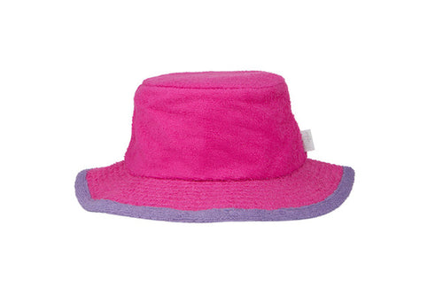 The Plain Narrow Brim Terry Bucket Hat- HotPink/Purple