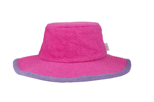 Kids Plain Terry Towelling Bucket Hat -HotPink/Purple