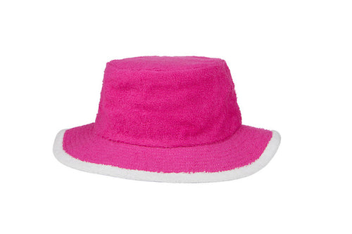 Kids Plain Narrow Brim Hat- HotPink/White