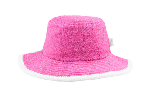 Kids Plain Terry Towelling Bucket Hat -Hot Pink/White