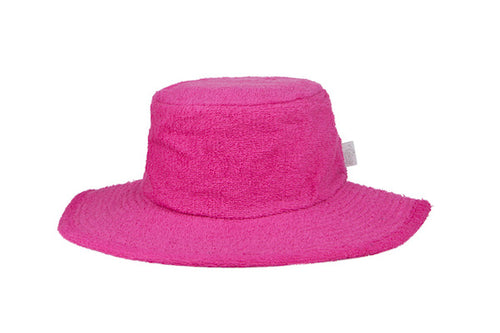 Terry Towelling Bucket Hat Wide Brim- HotPink