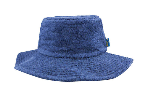 Terry Towelling Bucket Hat-Wide Brim NavyBlue