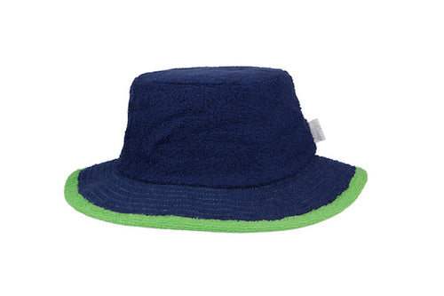 The Plain Narrow Brim Terry Bucket Hat- Navy/Green