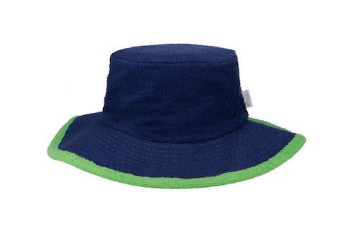 Kids Plain Terry Towelling Bucket Hat -Navy/Green