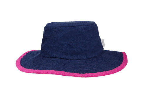Kids Plain Terry Towelling Bucket Hat -Navy/HotPink