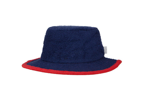 The Plain Narrow Brim Terry Bucket Hat- Navy/Red