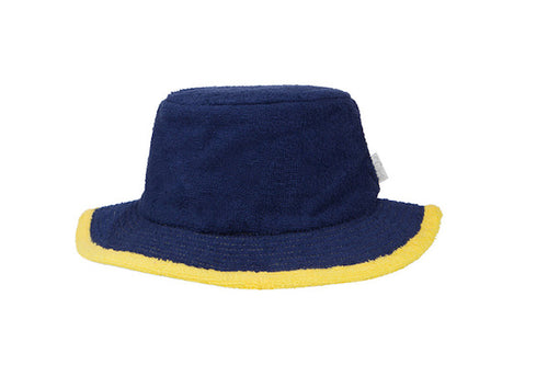 The Plain Narrow Brim Terry Bucket Hat- Navy/Yellow