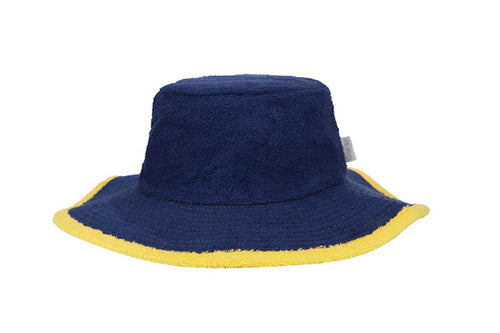 Kids Plain Terry Towelling Bucket Hat -Navy/Yellow