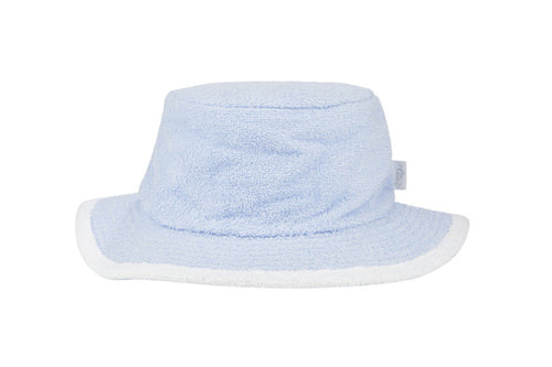The Plain Narrow Brim Terry Bucket Hat- Pale Blue/White