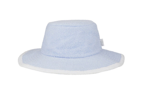 Kids Plain Terry Towelling Bucket Hat- PaleBlue/White