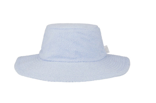Terry Towelling Bucket Hat- Wide Brim Pale Blue