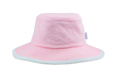 Kids Plain Terry Towelling Bucket Hat -PalePink/White