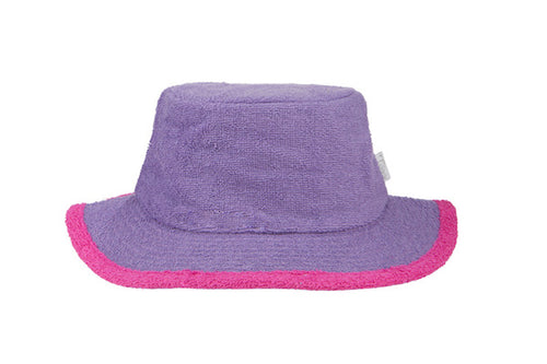 The Plain Narrow Brim Terry Bucket Hat- Purple/HotPink