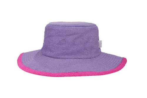 Kids Plain Terry Towelling Bucket Hat -Purple/HotPink