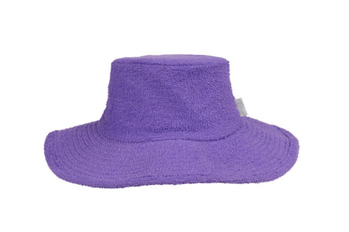 Terry Towelling Bucket Hat - Wide Brim - Purple
