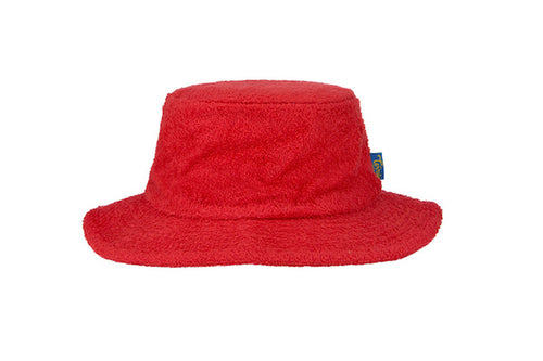 Terry Towelling Bucket Hat Narrow Brim- Red