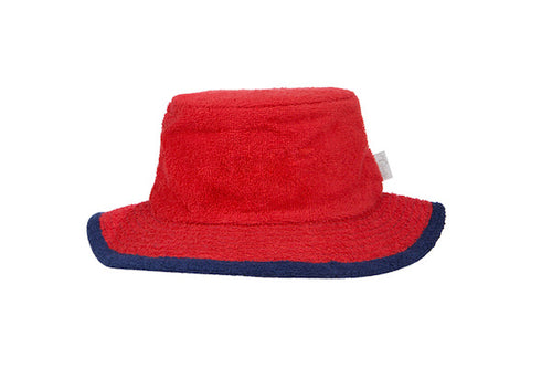 The Plain Narrow Brim Terry Bucket Hat- Red/Navy