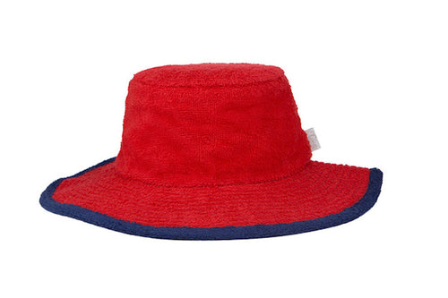Kids Plain Terry Towelling Bucket Hat -Red/Navy