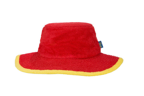Kids Plain Terry Towelling Bucket Hat -Red/Yellow