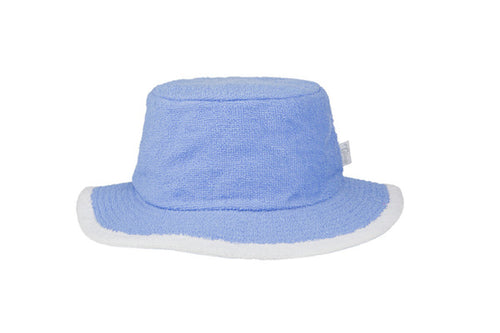 Terry Towelling Bucket Hat Narrow Brim- SkyBlue/White
