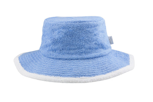 Kids Plain Terry Towelling Bucket Hat -SkyBlue/White