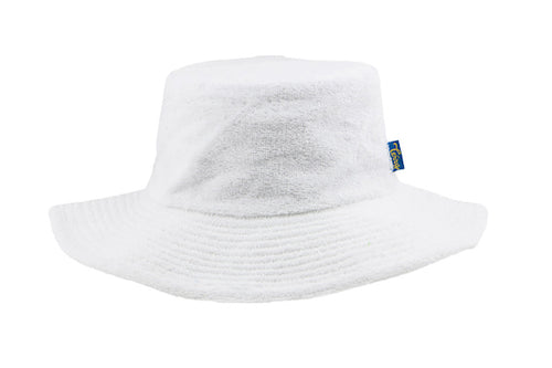 Terry Towelling Bucket Hat-Wide Brim White