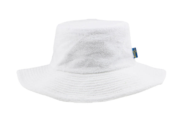 780c87a9d Terry Towelling Bucket Hat-Wide Brim White