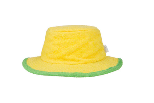 The Plain Narrow Brim Terry Bucket Hat- Yellow/Green
