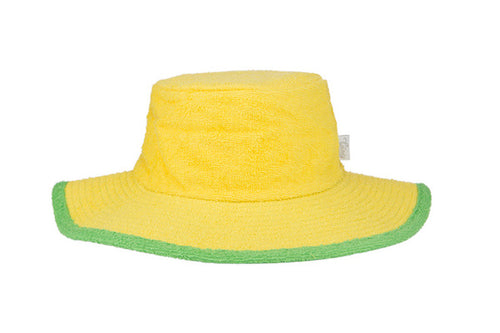 Kids Plain Terry Towelling Bucket Hat -Yellow/Green