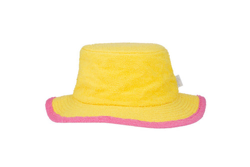 Kids Plain Narrow Brim Hat-Yellow/Pink