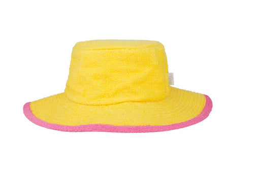 Kids Plain Terry Towelling Bucket Hat -Yellow/Pink