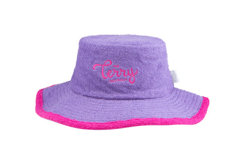 Ladies Happy Camper Terry Bucket Hat- Purple/Hot Pink