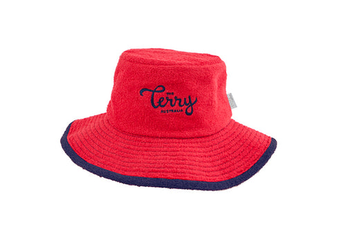 Kids Henry Wide Brim Terry Bucket Hat-Red/Navy
