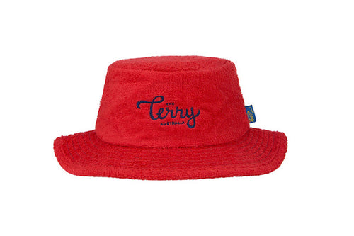 Kids Adventurer Narrow Brim Terry Bucket Hat-Red