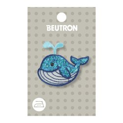 Sequin Blue Whale Iron on Motif